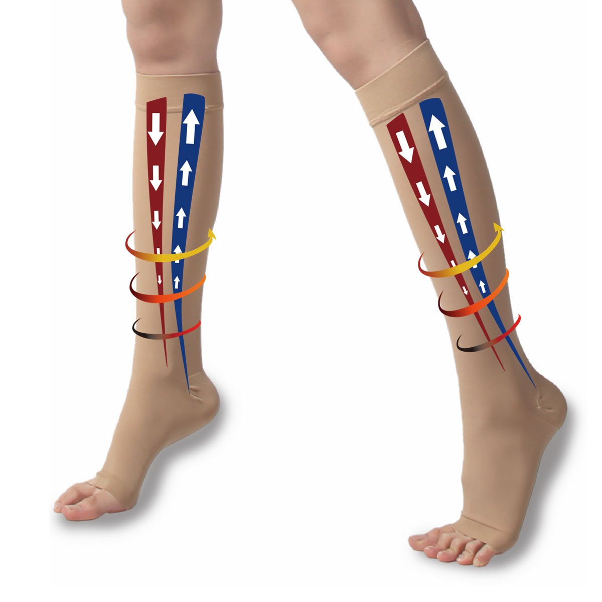 TXG Opaque thigh high compression stockings showing blood flow