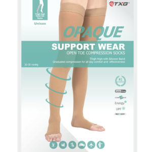 TXG Open Toe Thigh High Compression Stockings Packaging