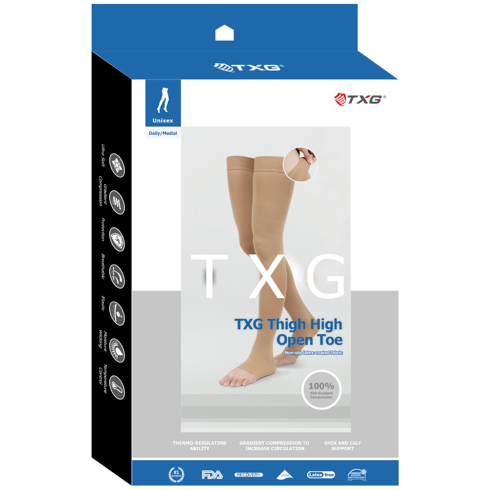 TXG Thigh High Opaque Compression Stockings Packaging