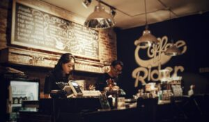 Staff working in a cafe